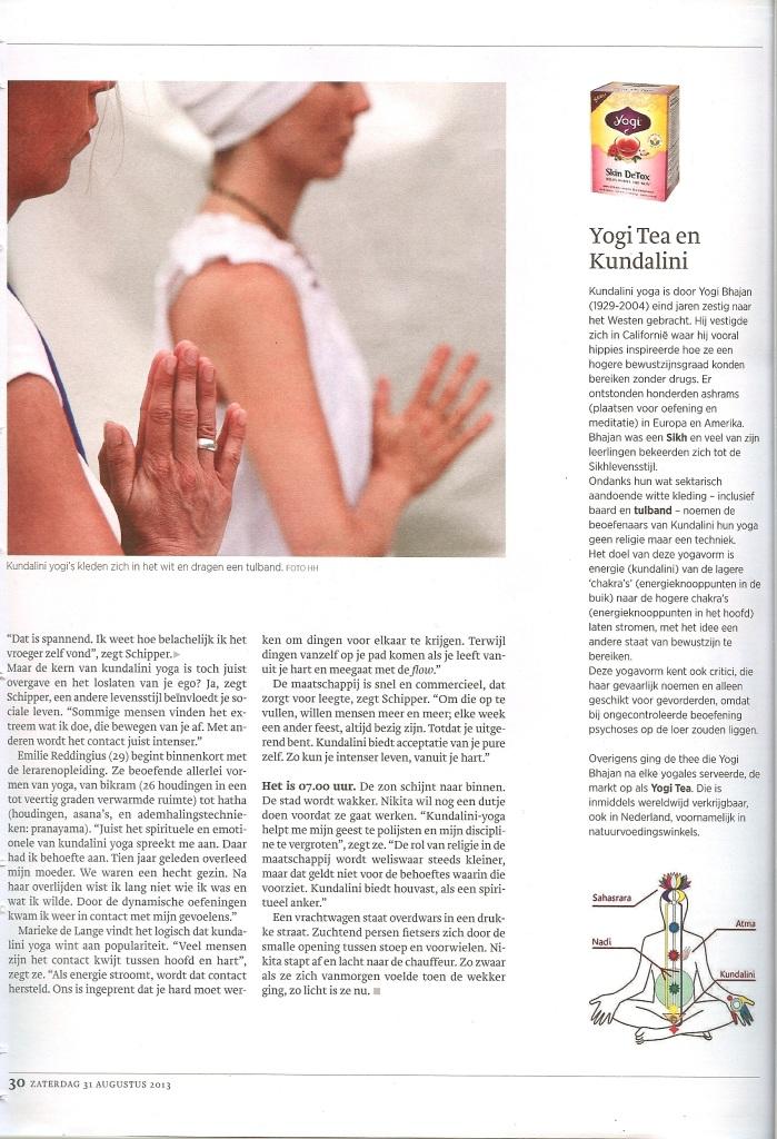Kundalini Yoga Amsterdam dagblad Trouw 1