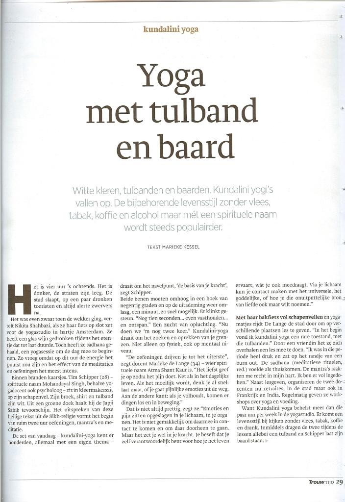 Kundalini Yoga Amsterdam dagblad Trouw